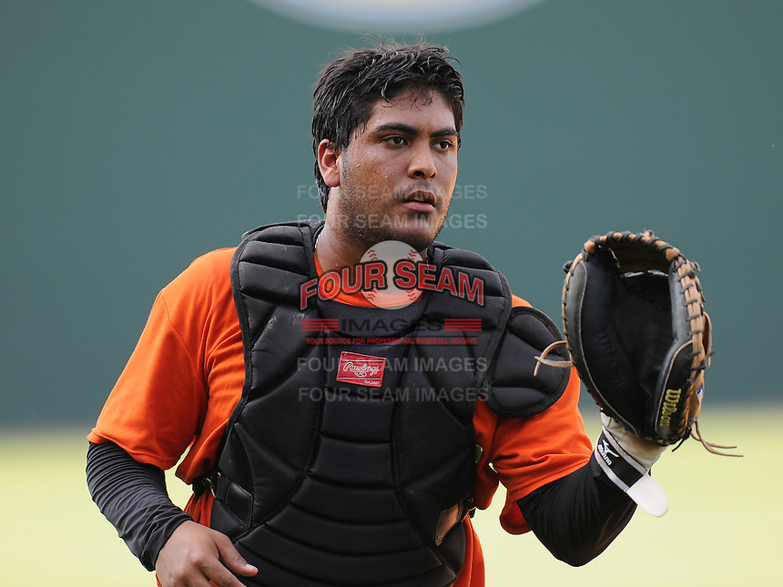 Catcher Hector Sanchez (37) of the Augusta GreenJackets, Class A affiliate of the San Francisco Giants, in a game against the Greenville Drive on May 20, 2010, at Fluor Field at the West End in Greenville, S.C. Photo by: Tom Priddy/Four Seam Images