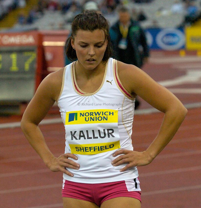 Photo: Richard Lane/Sportsbeat Images..Norwich Union British Grand Prix, Sheffield. 15/07/2007. .Jenny Kallur of Sweden after the women's 200m.