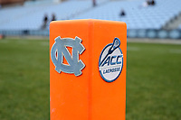 CHAPEL HILL, NC - MARCH 10: Lacrosse pylon with University of North Carolina and Atlantic Coast Conference logos during a game between Bryant and North Carolina at Dorrance Field on March 10, 2020 in Chapel Hill, North Carolina.