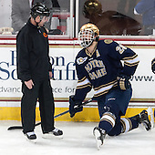 Jeff Bunyon, Stephen Johns (ND - 28) - The Boston College Eagles defeated the visiting University of Notre Dame Fighting Irish 4-2 to tie their Hockey East quarterfinal matchup at one game each on Saturday, March 15, 2014, at Kelley Rink in Conte Forum in Chestnut Hill, Massachusetts.