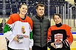 07.01.2020, BLZ Arena, Füssen / Fuessen, GER, IIHF Ice Hockey U18 Women's World Championship DIV I Group A, <br /> Ungarn (HUN) vs Japan (JPN), <br /> im Bild Ehrung beste Spielerin, Mira Seregely (HUN, #17), Hinata Corazon Lack (JPN, #16)<br /> <br /> Foto © nordphoto / Hafner
