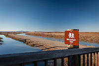 """A sign hearlds the naming of a section of the San Francisco Bay Trail to """"Bill Lockyer Trail"""".  The naming of 6.5 miles of the trail recognizes Lockyer's role as a legislator in passage of the 1987 bill creating the Bay Trail."""