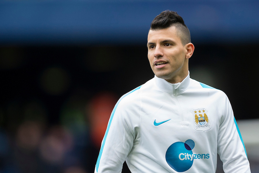Manchester City's Sergio Aguero during the pre-match warm-up <br /> <br /> Photographer Craig Mercer/CameraSport<br /> <br /> Football - Barclays Premiership - Chelsea v Manchester City - Saturday 16th April 2016 - Stamford Bridge - London<br /> <br /> &copy; CameraSport - 43 Linden Ave. Countesthorpe. Leicester. England. LE8 5PG - Tel: +44 (0) 116 277 4147 - admin@camerasport.com - www.camerasport.com