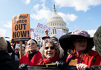Actress and political activist Jane Fonda, left, joined by Ben Cohen and Jerry Greenfield of Ben and Jerry's Ice Cream, participates in a climate protest on Capitol Hill in Washington D.C., U.S., on Friday, November 8, 2019.  Activists then marched to the White House to draw attention to the need to address climate change.  Credit: Stefani Reynolds / CNP /MediaPunch