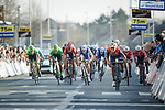 The bunch sprint for 4th place at the end of the 60th edition of the Record Bank E3 Harelbeke 2017, Flanders, Belgium. 24th March 2017.<br /> Picture: Jim Fryer/BrakeThrough Media | Cyclefile<br /> <br /> <br /> All photos usage must carry mandatory copyright credit (&copy; Cyclefile | Yuzuru Sunada)