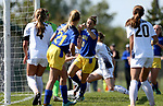 BROOKINGS, SD - SEPTEMBER 17:  Nicole Hatcher #10 from South Dakota State University scores the winning goal against Northern Colorado during their game Sunday afternoon at Fischback Soccer Field in Brookings. (Photo by Dave Eggen/Inertia)
