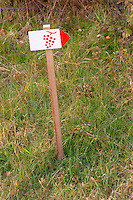 A sign indicating the vineyard walking path at Chateau Saint Cosme, Gigondas, Vaucluse, Rhone, Provence, France