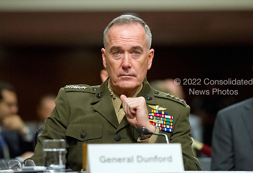"""General Joseph F. Dunford, Jr., US Marine Corps, Chairman of the Joint Chiefs of Staff, gives testimony before the US Senate Committee on Armed Services on """"the Department of Defense budget posture in review of the Defense Authorization Request for Fiscal Year 2018 and the Future Years Defense Program"""" on Capitol Hill in Washington, DC on Tuesday, June 13, 2017.<br /> Credit: Ron Sachs / CNP"""