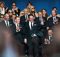 25.09.2014. Gleneagles, Auchterarder, Perthshire, Scotland.  The Ryder Cup.  Phil Mickelson [USA] is introduced at the opening ceremony.