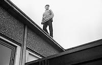 On the school roof, Whitworth Comprehensive School, Whitworth, Lancashire.  1970.
