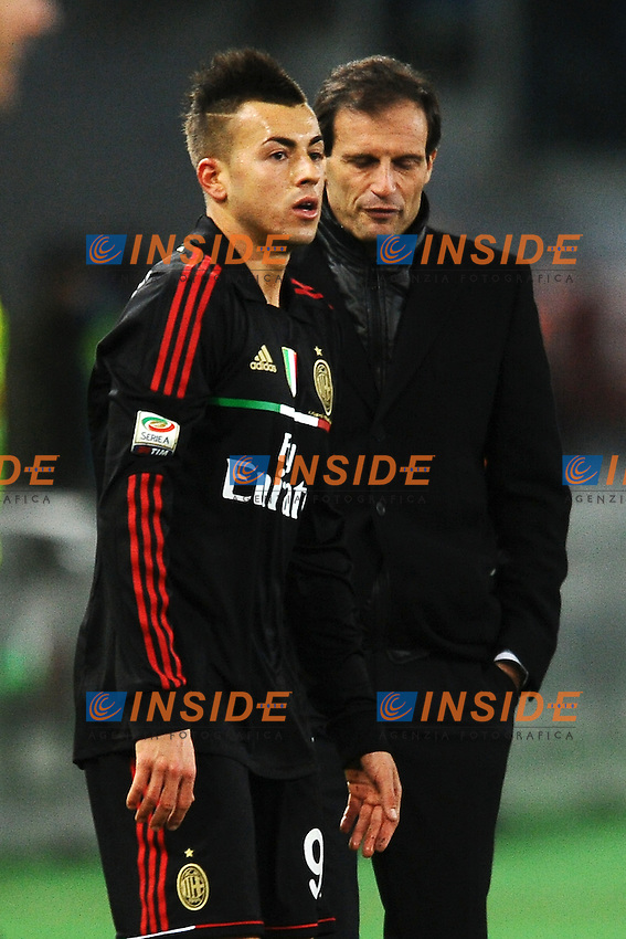 "Stephan El Shaarawy e Massimiliano Allegri Milan.Roma 1/2/2012 Stadio ""Olimpico"".Football Calcio 2011/2012 Serie A.Lazio Vs Milan.Foto Insidefoto Andrea Staccioli"