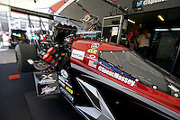 Apr. 5, 2013; Las Vegas, NV, USA: (Editors note: Special effects lens used in creation of this image) Detailed view of the canopy on the car of NHRA top fuel dragster driver Spencer Massey in the pits during qualifying for the Summitracing.com Nationals at the Strip at Las Vegas Motor Speedway. Mandatory Credit: Mark J. Rebilas-