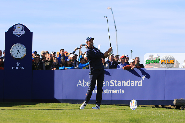 Webb Simpson (Team USA) on the 11th tee during Saturday Foursomes at the Ryder Cup, Le Golf National, Ile-de-France, France. 29/09/2018.<br /> Picture Thos Caffrey / Golffile.ie<br /> <br /> All photo usage must carry mandatory copyright credit (© Golffile   Thos Caffrey)