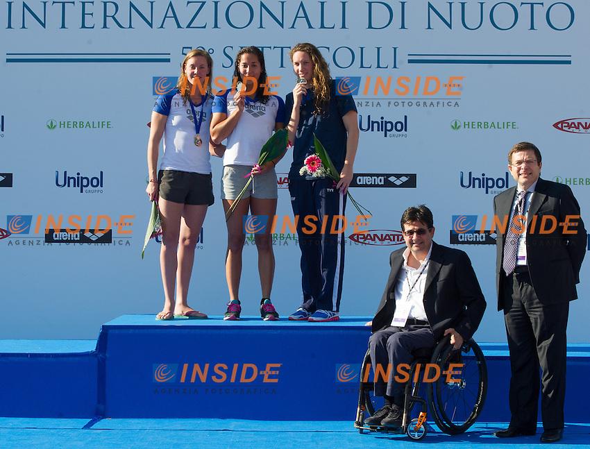 100 freestyle women podio <br /> premia Luca Pancalli, presidente Finp<br /> 50 Settecolli Trofeo Internazionale di nuoto 2013<br /> swimming<br /> Roma, Foro Italico  12 - 15/06/2013<br /> Day02 finali finals<br /> Photo Giorgio Scala/Deepbluemedia/Insidefoto