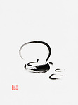 Teapot with two cups artistic oriental style illustration, Japanese Zen Sumi-e minimalistic ink painting on white rice paper background