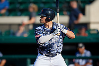 Lakeland Flying Tigers Nick Ames (55) at bat during a Florida State League game against the Dunedin Blue Jays on May 18, 2019 at Publix Field at Joker Marchant Stadium in Lakeland, Florida.  Dunedin defeated Lakeland 3-2 in eleven innings.  (Mike Janes/Four Seam Images)