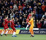 12.02.2020 Kilmarnock v Rangers: Scott Arfield runs the length of the park to celebrate with Allan McGregor