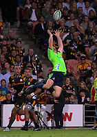 Ben Smith goes up for the ball during the Super Rugby match between the Chiefs and Highlanders at FMG Stadium in Hamilton, New Zealand on Friday, 30 March 2018. Photo: Dave Lintott / lintottphoto.co.nz