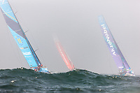 Vestas- 11th hour racing, Dongfeng, and AkzoNobel sail off into a light fog and big swell of Castle Hill in Newport