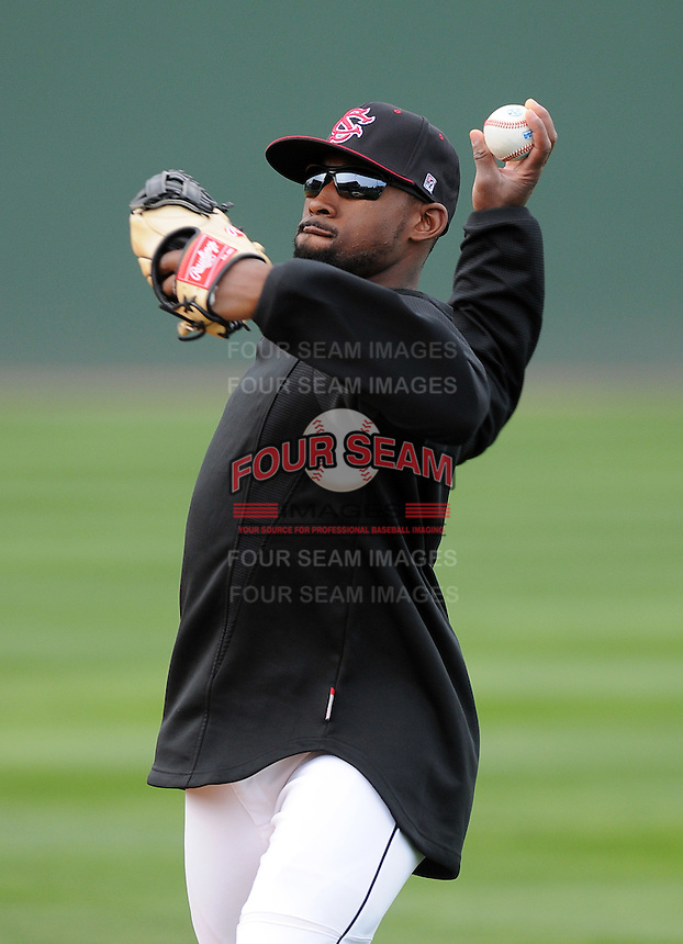 Outfielder Jackie Bradley Jr. (19) of the South Carolina Gamecocks prior to a game against the Clemson Tigers on Tuesday, March 8, 2011, at Fluor Field in Greenville, S.C.  Photo by Tom Priddy / Four Seam Images