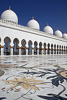 Abu Dhabi Mosque courtyard with floral tiles