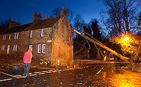 A house in the little village of Gifford near Edinburgh gets hit by a tree as major winter storm moves in over Scotland..The Met Office has issued its highest warning, a red alert..Hundreds of schools have been shut and bridge and road closures are causing disruption. 90mph winds are expected..Parts of England and Northern Ireland are also being hit by extreme wind and rain..Picture: Universal News And Sport (Scotland). 8 December 2011. www.unpixs.com.