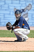 Myrtle Beach Pelicans outfielder Zach Cone (12) warms up the pitcher in between innings during a game against the Wilmington Blue Rocks on April 27, 2014 at Frawley Stadium in Wilmington, Delaware.  Myrtle Beach defeated Wilmington 5-2.  (Mike Janes/Four Seam Images)