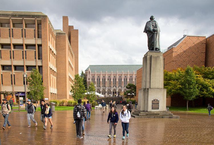 Seattle, University of Washington, George Washington, statue, campus, students, Washington State, Pacific Northwest, United States, American universities,
