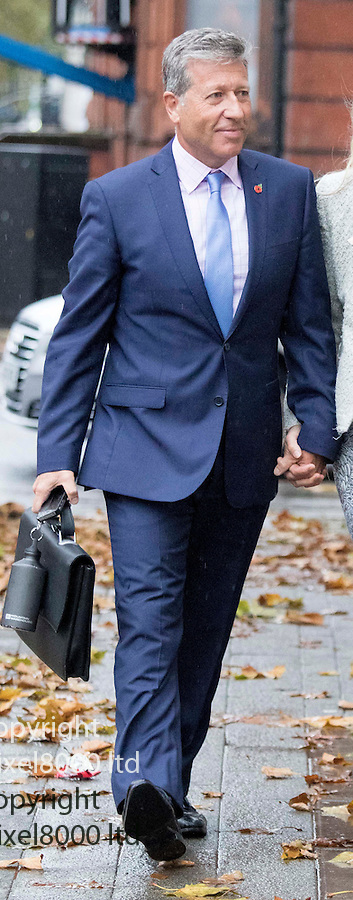 Pic shows: Neil Fox  arrives at Westminster Magistrates Court today for the second day of his trial with his blonde wife Vicky <br /> <br /> <br /> <br /> <br /> Pic by Gavin Rodgers/Pixel 8000 Ltd  6.11.15