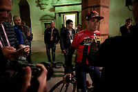 Vincenzo Nibali (ITA/Bahrain-Merida) being interviewed ahead of the official team presentation of the 102nd Giro d'Italia 2019 at the Grande Partenza in Bologna<br /> <br /> ©kramon