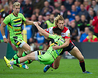 Northampton Saints' Tom Collins is tackled by Gloucester Rugby's Billy Twelvetrees <br /> <br /> Photographer Ashley Western/CameraSport<br /> <br /> Aviva Premiership - Gloucester v Northampton Saints - Saturday 7th October 2017 - Kingsholm Stadium - Gloucester<br /> <br /> World Copyright &copy; 2017 CameraSport. All rights reserved. 43 Linden Ave. Countesthorpe. Leicester. England. LE8 5PG - Tel: +44 (0) 116 277 4147 - admin@camerasport.com - www.camerasport.com