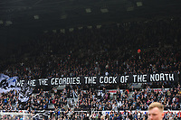 Newcastle United fans display a large banner before kick off during Newcastle United vs Arsenal, Premier League Football at St. James' Park on 15th April 2018