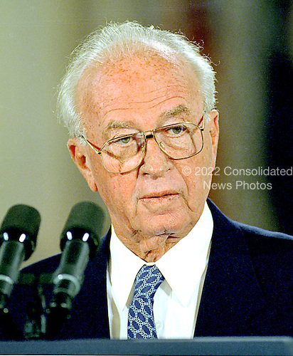 "Washington, DC - September 28, 1995 - Prime Minister Yitzhak Rabin of Israel speaks during the signing ceremony for the Israel / PLO Interim Agreement also known as ""Oslo II"" in The East Room of The White House on September 28, 1995..Credit: Ron Sachs / CNP"