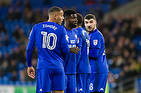 Bruno Ecuele Manga (second left) and Kenneth Zohore of Cardiff City organise a defensive wall during the Sky Bet Championship match between Cardiff City and Preston North End at the Cardiff City Stadium, Cardiff, Wales on 29 December 2017. Photo by Mark  Hawkins / PRiME Media Images.