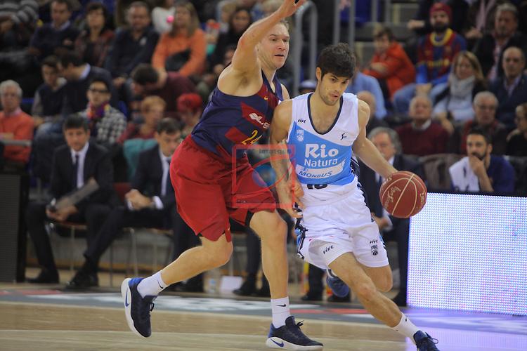 League ACB-ENDESA 2016/2017 - Game: 16.<br /> FC Barcelona Lassa vs Rio Natura Monbus Obradoiro: 100-76.<br /> Brad Oleson vs Santiago Yusta.