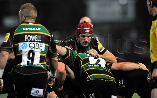 26.11.10. Christian Day of Northampton Saints holds up the scrum. Aviva Premiership Rugby Round 9 Northampton Saints vs London Irish at Franklin s Gardens, Northampton, England