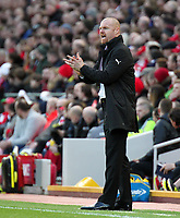 Burnley manager Sean Dyche shouts instructions to his team from the dug-out<br /> <br /> Photographer Rich Linley/CameraSport<br /> <br /> The Premier League - Liverpool v Burnley - Sunday 12 March 2017 - Anfield - Liverpool<br /> <br /> World Copyright &copy; 2017 CameraSport. All rights reserved. 43 Linden Ave. Countesthorpe. Leicester. England. LE8 5PG - Tel: +44 (0) 116 277 4147 - admin@camerasport.com - www.camerasport.com