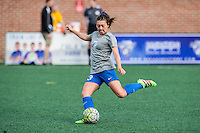 Allston, MA - Sunday, May 22, 2016: Boston Breakers defender Brooke Elby (23) during warmups before a regular season National Women's Soccer League (NWSL) match at Jordan Field.