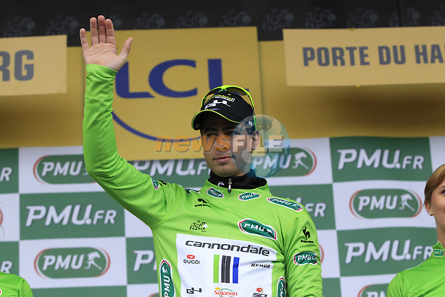 Peter Sagan (SVK) Cannondale strengthens his hold on the sprinter's Green Jersey at the end of Stage 5 of the 2014 Tour de France running 155.5km from Ypres to Arenberg. 9th July 2014.<br /> Picture: Eoin Clarke www.newsfile.ie