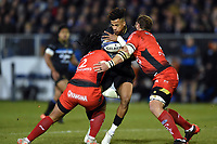 Anthony Watson of Bath Rugby is double-tackled. Anthony Watson of Bath Rugby takes on the Toulon defence. European Rugby Champions Cup match, between Bath Rugby and RC Toulon on December 16, 2017 at the Recreation Ground in Bath, England. Photo by: Patrick Khachfe / Onside Images