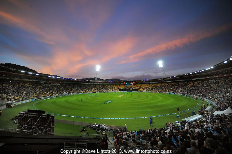 A general view of play at Westpac Stadium during the International Twenty20 cricket match between the New Zealand Black Caps and England at Westpac Stadium, Wellington, New Zealand on Friday, 15 February 2013. Photo: Dave Lintott / lintottphoto.co.nz