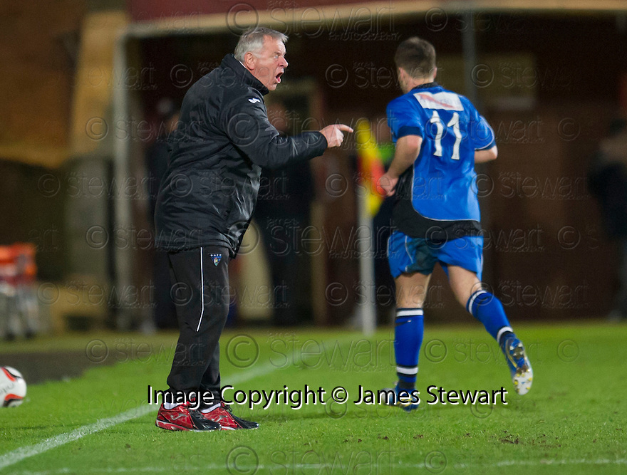 Dunfermline manager Jim Jeffries takes to the field of play to vent his anger.
