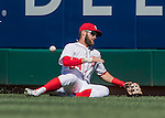 28 August 2016: Washington Nationals outfielder Bryce Harper is unable to come up with a fly ball resulting in a triple in the 5th inning by the Colorado Rockies at Nationals Park in Washington, DC. The Rockies defeated the Nationals 5-3 to take the rubber match of their 3-game series. Mandatory Credit: Ed Wolfstein Photo *** RAW (NEF) Image File Available ***