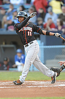 Delmarva Shorebirds Mychal Givens #11 swings at a pitch during  a game against  the  Asheville Tourists at McCormick Field in Asheville,  North Carolina;  May 6, 2011. The Shorebirds won the game 6-5.  Photo By Tony Farlow/Four Seam Images