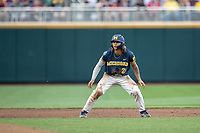 Michigan Wolverines outfielder Jordan Brewer (22) leads off second base during Game 6 of the NCAA College World Series against the Florida State Seminoles on June 17, 2019 at TD Ameritrade Park in Omaha, Nebraska. Michigan defeated Florida State 2-0. (Andrew Woolley/Four Seam Images)