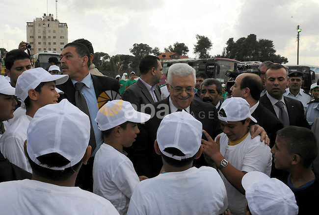 Palestinian President Mahmoud Abbas (Abu Mazen) during his visit to the events hosted by the children of Palestine to support the efforts of the Palestinian leadership at the United Nations, in the West Bank city of Ramallah, on Sep. 31, 2011. Photo by Thaer Ganaim