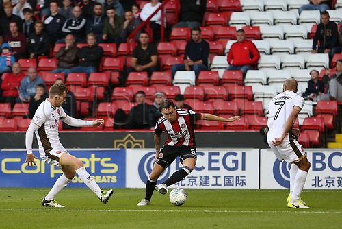 August 9th 2017, Bramall Lane, Sheffield, England; Carabao Cup First Round; Sheffield United versus Walsall; Nathan Thomas of Sheffield United takes the ball to the edge of the box between defenders