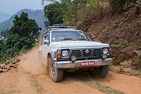 Nepal, Gorkha, Sindhulpalchowk. Area that was heavily damaged in the earthquake and in the process of being rebuilt. Driving on the muddy roads from monsoon rains.