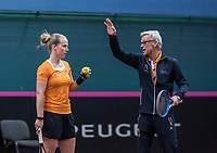 Bratislava, Slovenia, April 23, 2017,  FedCup: Slovakia-Netherlands, Practise Dutch team, coach Martin Bohm shows Richel Hogenkamp<br /> Photo: Tennisimages/Henk Koster