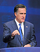 Former Governor Mitt Romney (Republican of Massachusetts), a candidate for the 2012 Republican Party nomination for President of the United States, makes remarks at the 2012 CPAC Conference at the Marriott Wardman Park Hotel in Washington, D.C. on Friday, February 10, 2012..Credit: Ron Sachs / CNP